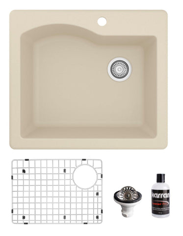 "Karran 25"" Drop In/Topmount Quartz Composite Kitchen Sink, Bisque, QT-671-BI-PK1"