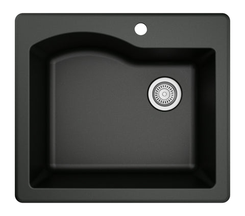 "Karran 25"" Quartz Kitchen Sink, Black, QT-671-BL"