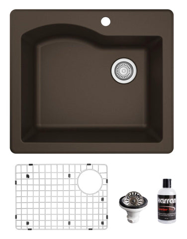 "Karran 25"" Drop In/Topmount Quartz Composite Kitchen Sink, Brown, QT-671-BR-PK1"