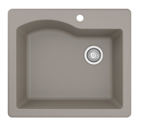 "Karran 25"" Quartz Kitchen Sink, Concrete, QT-671-CN"