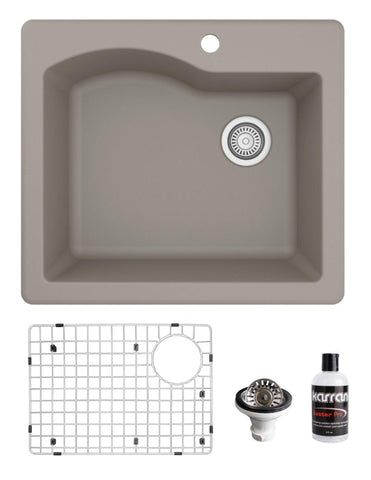 "Karran 25"" Drop In/Topmount Quartz Composite Kitchen Sink, Concrete, QT-671-CN-PK1"