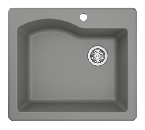 "Karran 25"" Quartz Kitchen Sink, Grey, QT-671-GR"