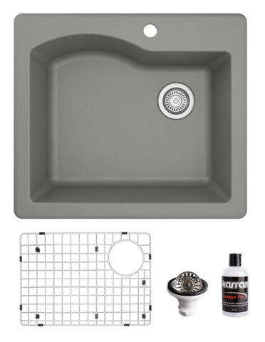 "Karran 25"" Drop In/Topmount Quartz Composite Kitchen Sink, Grey, QT-671-GR-PK1"