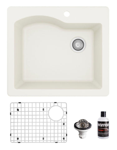 "Karran 25"" Drop In/Topmount Quartz Composite Kitchen Sink, White, QT-671-WH-PK1"