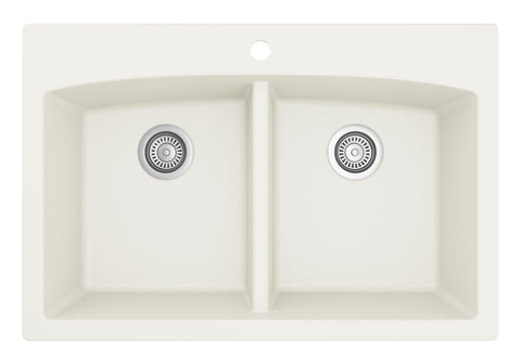"Karran 33"" Quartz Kitchen Sink, 50/50 Double Bowl, White, QT-710-WH"