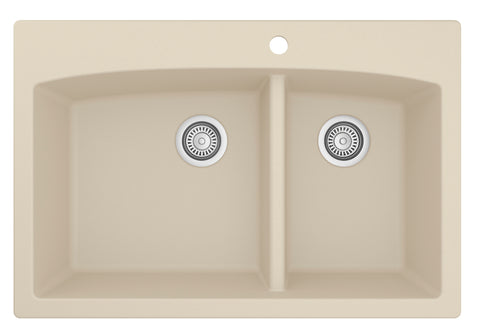 "Karran 33"" Quartz Kitchen Sink, 60/40 Double Bowl, Bisque, QT-711-BI"