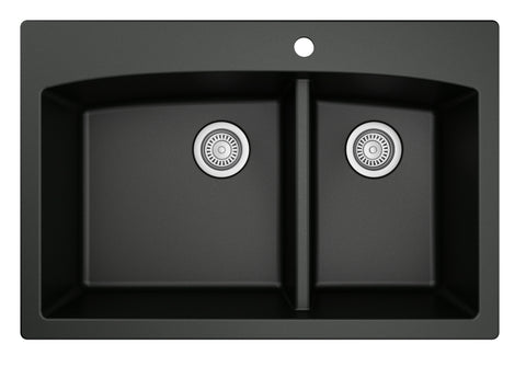 "Karran 33"" Quartz Kitchen Sink, 60/40 Double Bowl, Black, QT-711-BL"