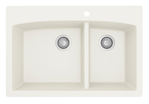 "Karran 33"" Quartz Kitchen Sink, 60/40 Double Bowl, White, QT-711-WH"