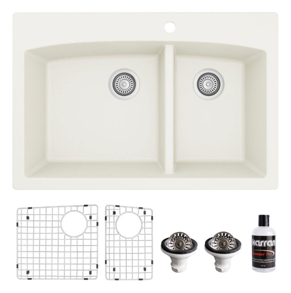 "Karran 33"" Drop In/Topmount Quartz Composite Kitchen Sink, 60/40 Double Bowl, White, QT-711-WH-PK1"