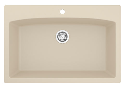 "Karran 33"" Quartz Kitchen Sink, Bisque, QT-712-BI"