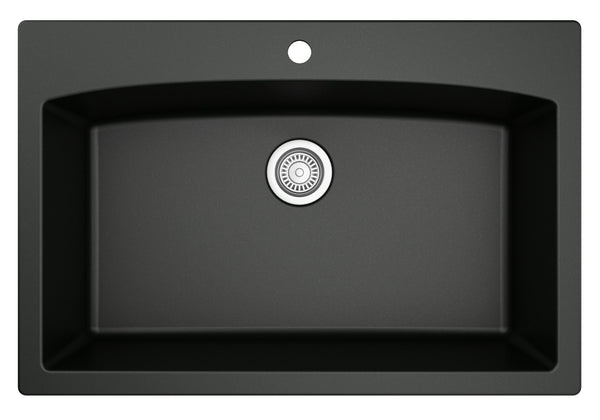 "Karran 33"" Quartz Kitchen Sink, Black, QT-712-BL"