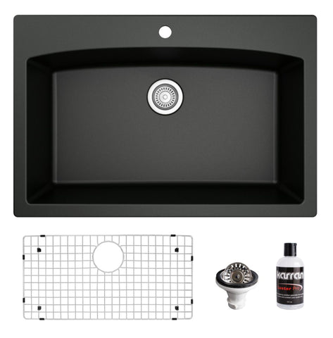"Karran 33"" Drop In/Topmount Quartz Composite Kitchen Sink, Black, QT-712-BL-PK1"