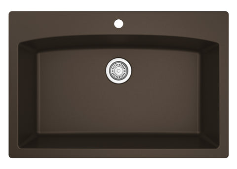 "Karran 33"" Quartz Kitchen Sink, Brown, QT-712-BR"
