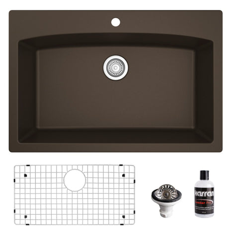 "Karran 33"" Drop In/Topmount Quartz Composite Kitchen Sink, Brown, QT-712-BR-PK1"