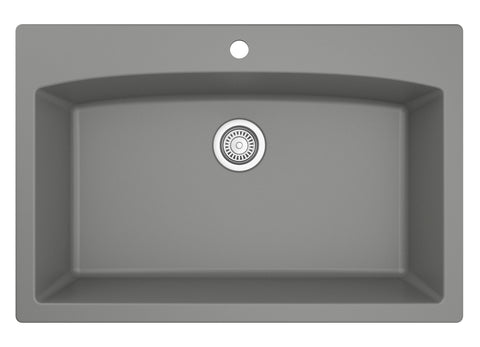 "Karran 33"" Quartz Kitchen Sink, Grey, QT-712-GR"