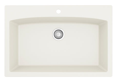 "Karran 33"" Quartz Kitchen Sink, White, QT-712-WH"
