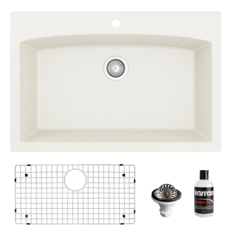 "Karran 33"" Drop In/Topmount Quartz Composite Kitchen Sink, White, QT-712-WH-PK1"