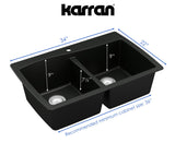 "Karran 34"" Quartz Kitchen Sink, 50/50 Double Bowl, Brown, QT-720-BR"