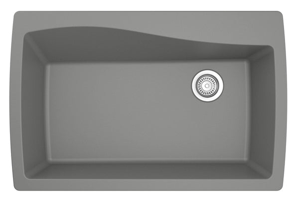 "Karran 34"" Quartz Kitchen Sink, Grey, QT-722-GR"