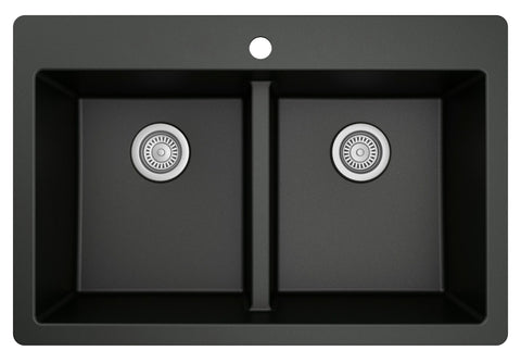 "Karran 33"" Drop In/Topmount Quartz Composite Kitchen Sink, 50/50 Double Bowl, Black, QT-810-BL"