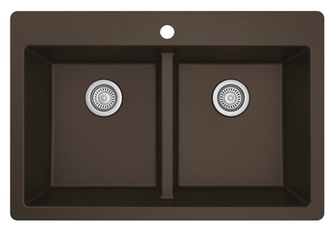 "Karran 33"" Drop In/Topmount Quartz Composite Kitchen Sink, 50/50 Double Bowl, Brown, QT-810-BR"