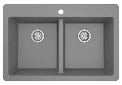"Karran 33"" Drop In/Topmount Quartz Composite Kitchen Sink, 50/50 Double Bowl, Grey, QT-810-GR"