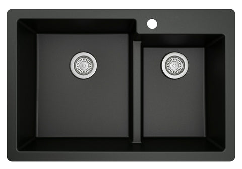 "Karran 33"" Drop In/Topmount Quartz Composite Kitchen Sink, 60/40 Double Bowl, Black, QT-811-BL"