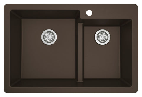 "Karran 33"" Drop In/Topmount Quartz Composite Kitchen Sink, 60/40 Double Bowl, Brown, QT-811-BR"