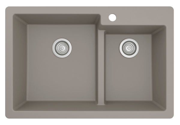 "Karran 33"" Drop In/Topmount Quartz Composite Kitchen Sink, 60/40 Double Bowl, Concrete, QT-811-CN"