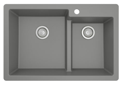 "Karran 33"" Drop In/Topmount Quartz Composite Kitchen Sink, 60/40 Double Bowl, Grey, QT-811-GR"
