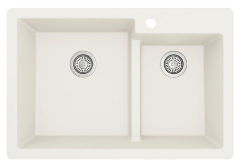 "Karran 33"" Drop In/Topmount Quartz Composite Kitchen Sink, 60/40 Double Bowl, White, QT-811-WH"