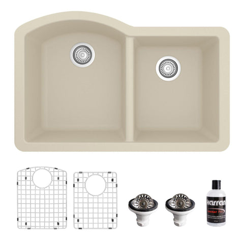 "Karran 32"" Undermount Quartz Composite Kitchen Sink, 60/40 Double Bowl, Bisque, QU-610-BI-PK1"