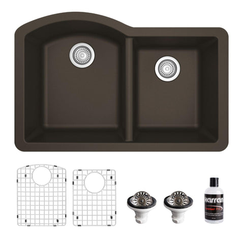 "Karran 32"" Undermount Quartz Composite Kitchen Sink, 60/40 Double Bowl, Brown, QU-610-BR-PK1"