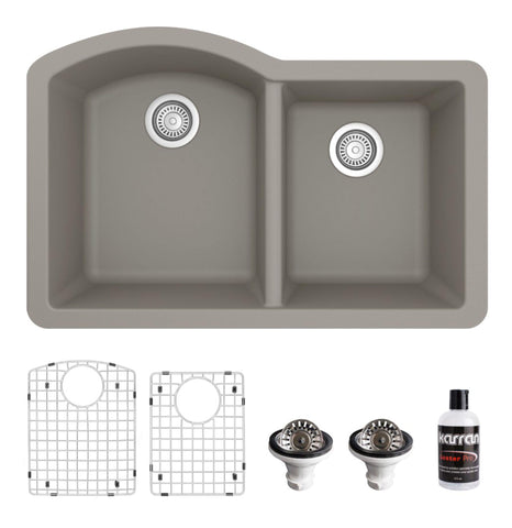 "Karran 32"" Undermount Quartz Composite Kitchen Sink, 60/40 Double Bowl, Concrete, QU-610-CN-PK1"