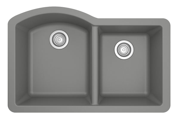 "Karran 32"" Quartz Kitchen Sink, 60/40 Double Bowl, Grey, QU-610-GR"