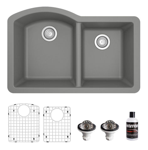 "Karran 32"" Undermount Quartz Composite Kitchen Sink, 60/40 Double Bowl, Grey, QU-610-GR-PK1"