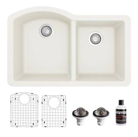 "Karran 32"" Undermount Quartz Composite Kitchen Sink, 60/40 Double Bowl, White, QU-610-WH-PK1"
