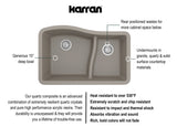 "Karran 32"" Quartz Kitchen Sink, 60/40 Double Bowl, Concrete, QU-630-CN"