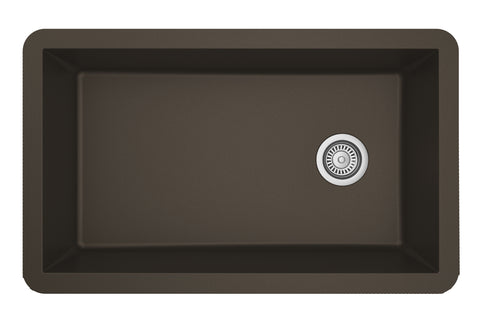 "Karran 32"" Quartz Kitchen Sink, Brown, QU-670-BR"