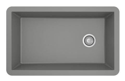 "Karran 32"" Quartz Kitchen Sink, Grey, QU-670-GR"