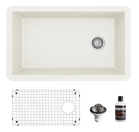 "Karran 32"" Undermount Quartz Composite Kitchen Sink, White, QU-670-WH-PK1"