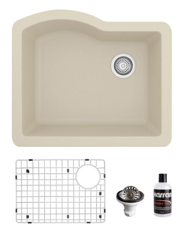 "Karran 24"" Undermount Quartz Composite Kitchen Sink, Bisque, QU-671-BI-PK1"