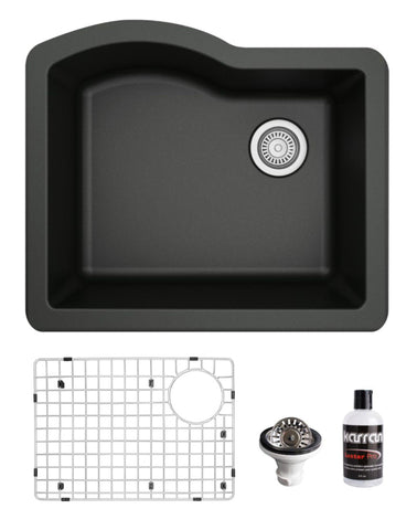 "Karran 24"" Undermount Quartz Composite Kitchen Sink, Black, QU-671-BL-PK1"