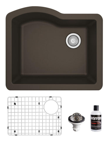 "Karran 24"" Undermount Quartz Composite Kitchen Sink, Brown, QU-671-BR-PK1"