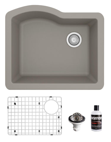 "Karran 24"" Undermount Quartz Composite Kitchen Sink, Concrete, QU-671-CN-PK1"