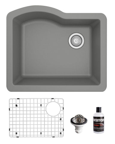 "Karran 24"" Undermount Quartz Composite Kitchen Sink, Grey, QU-671-GR-PK1"