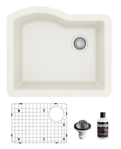 "Karran 24"" Undermount Quartz Composite Kitchen Sink, White, QU-671-WH-PK1"