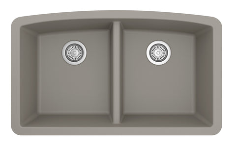 "Karran 33"" Quartz Kitchen Sink, 50/50 Double Bowl, Concrete, QU-710-CN"
