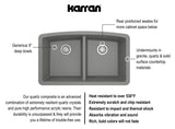 "Karran 33"" Quartz Kitchen Sink, 50/50 Double Bowl, Grey, QU-710-GR"