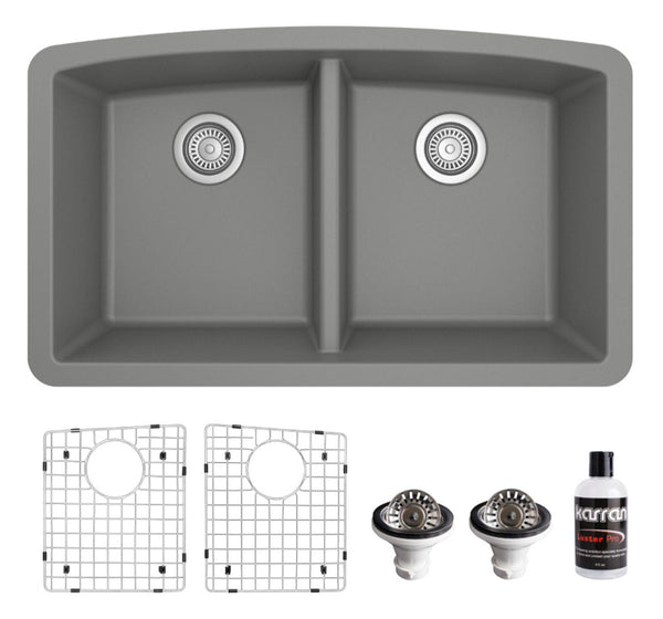 "Karran 33"" Undermount Quartz Composite Kitchen Sink, 50/50 Double Bowl, Grey, QU-710-GR-PK1"